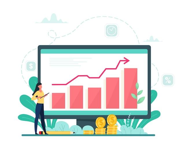 ビジネスグラフの成長、成功したプロジェクト。経済成長。フラットの漫画のスタイルのベクトル図。
