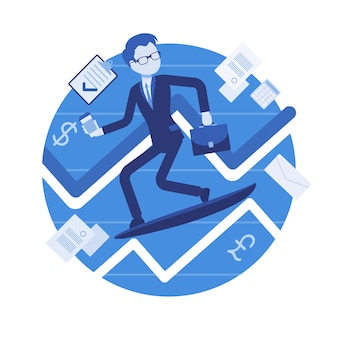 Business chart surfing man