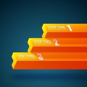 3つのステップを持つビジネスチャートテンプレート