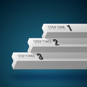 Business chart template with three steps