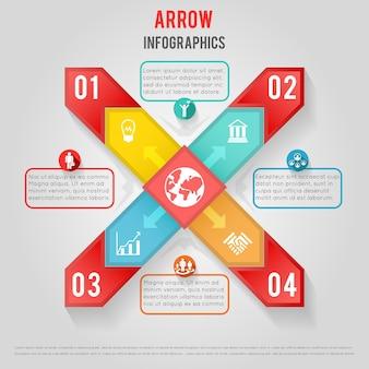Диаграмма дела с иконами и стрелками. диаграмма бизнесменов. инфографический график статистических данных. иллюстрация