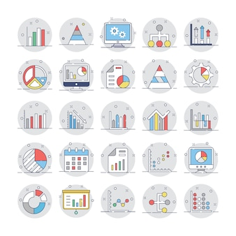 Business charts and diagrams flat circular icons