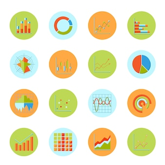 Business charts diagrams and graphs flat icons set isolated