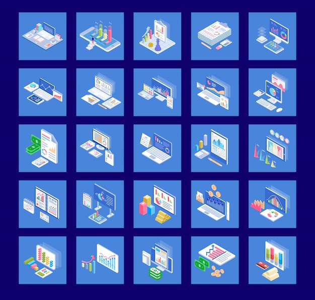 Business charts flat icons pack