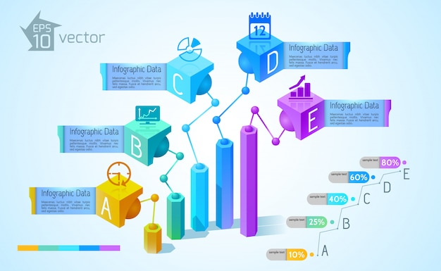 Business charts and graphs infographics with colorful 3d columns five text banners icons on squares illustration