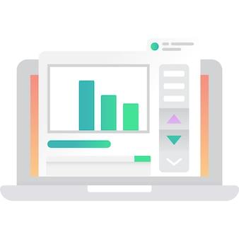 Деловой чат на векторе значка ноутбука, изолированные на белом фоне. удаленная работа в виртуальном офисе. удаленная работа и веб-общение. удаленная работа и цифровые технологии