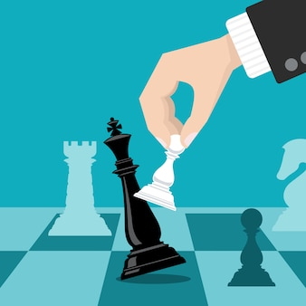 Business checkmate strategy vector concept with hand holding chess pawn knocking down king