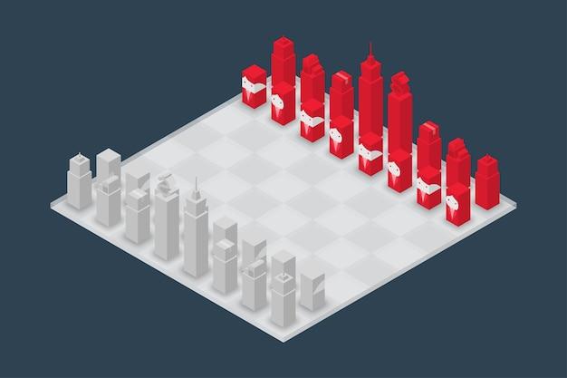 ビジネスチェスキューブアイソメ3dデザインセット