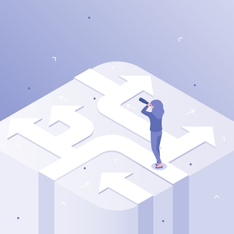 Business choices. woman career decision, choosing different ways and crossroads of opportunity isometric  concept illustration