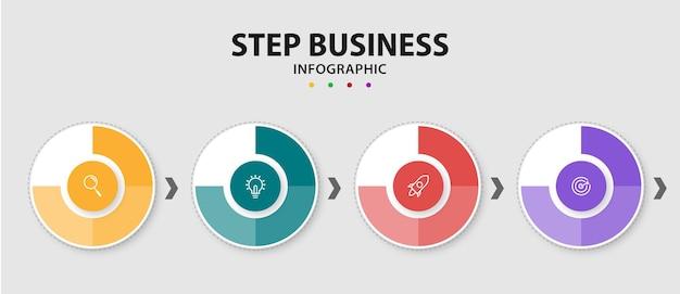 ビジネスサークルインフォグラフィックテンプレートグラフィックデザイン要素プレミアムベクトル