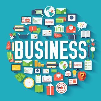 Business circle infographics template concept Premium Vector