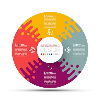 Business circle labels shape infographic with four steps