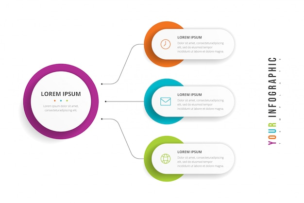 Business circle template with 3 options for brochure, diagram, workflow, timeline, web design. presentation infographics element