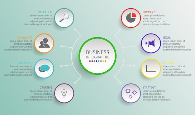 Business circle template with options for brochure, diagram, workflow, timeline, web design. flowchart diagram template