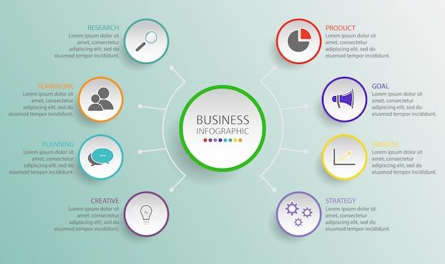 パンフレット、図、ワークフロー、タイムライン、webデザインのオプションを持つビジネスサークルテンプレート。フローチャート図テンプレート