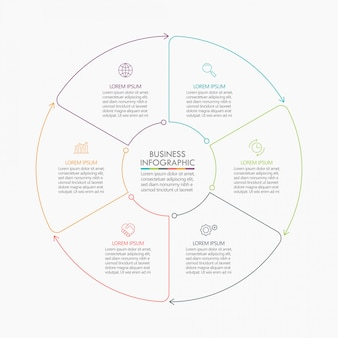 Business circle, timeline infographic template with options