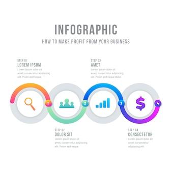 Timeline infografica circolare di affari con effetto sfumato