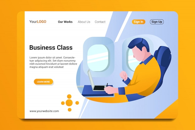 Business class landing page background.