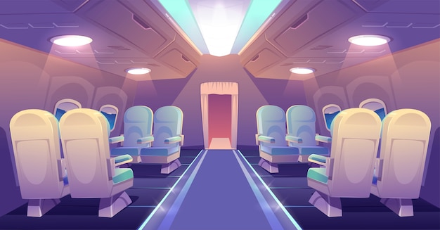 Business class in plane private jet empty interior