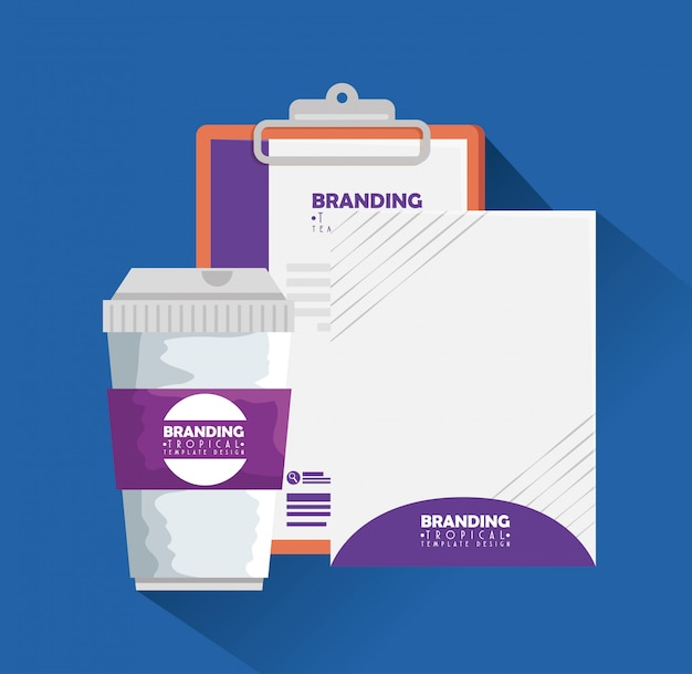 Business clipboard with paper and plastic coffee cup