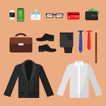 ビジネス服。オフィスマネージャーの男性パンツシャツ時計ベルトソックスと分離された他のトップビューアイテムのファッション