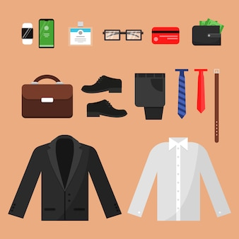 Business clothes. fashion for office managers male pants shirt watches belt socks and other  top view items isolated