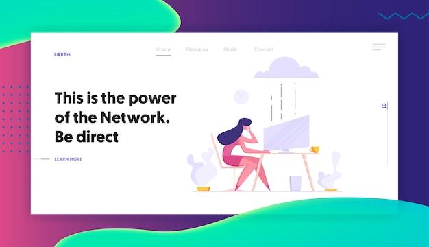 Бизнес-концепция облачного хранилища данных центра обработки данных серверов с характером деловой женщины