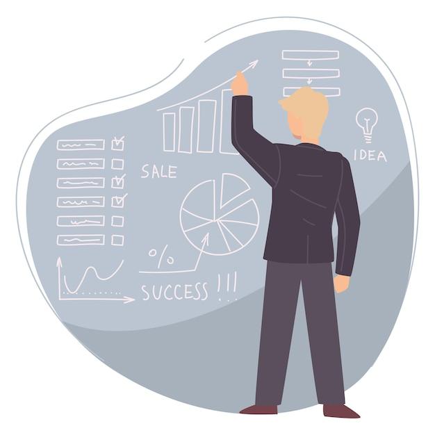 비즈니스 코치 또는 코스의 개인 멘토. 아이디어와 통계를 제시하는 남성 캐릭터. 데이터 분석을 사용하여 결과, 수학 또는 경제 분야를 보여주는 교사. 평면 스타일의 벡터