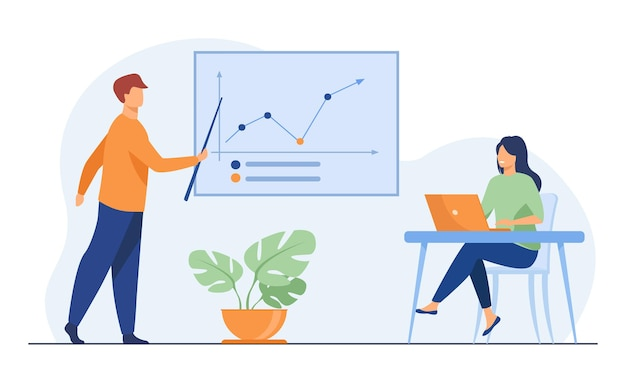 実業家に成長グラフを示すビジネスコーチ。ノートパソコン、トレーニング、統計フラットイラスト。バナー、ウェブサイトのデザイン、またはランディングウェブページの分析と管理の概念