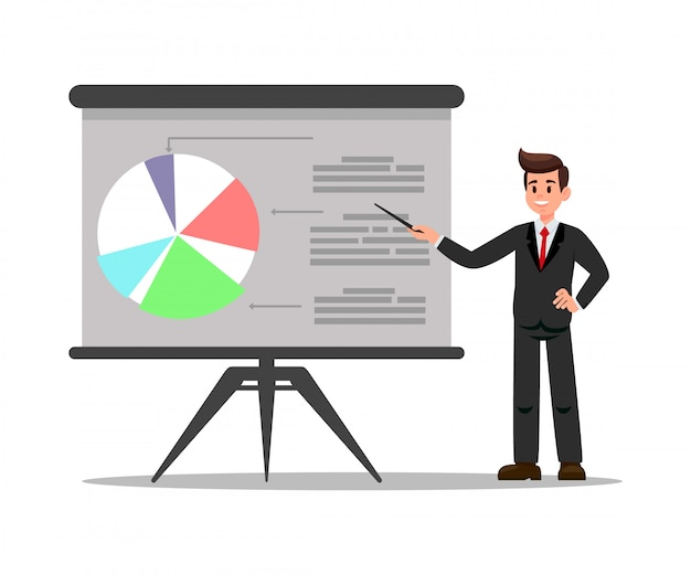 Business coach in suit flat vector illustration