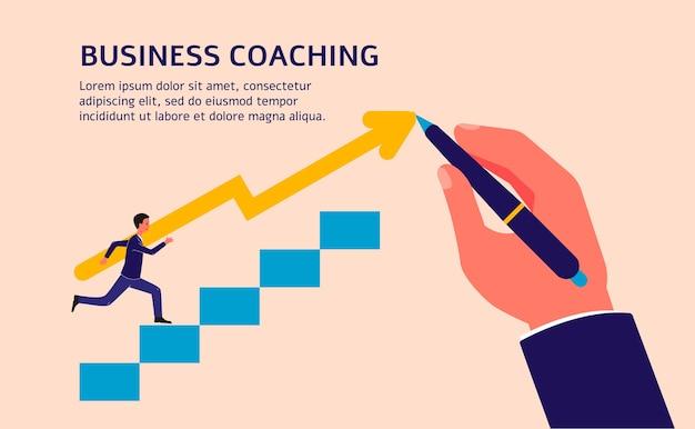 Шаблон баннера бизнес-коучинга с мультипликационным персонажем бизнесмена, поднимающимся по лестнице и привел к успеху рукой тренера, иллюстрация на фоне.