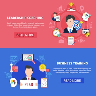 Business coaching banners set