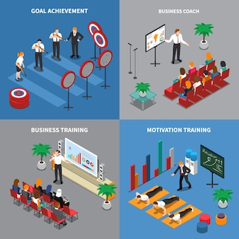 Business coaching concept 4 isometric compositions with motivation confidence communication skills training goals setting achieving