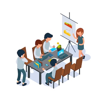 Business coaching. conference hall person speak and pointing at flip chart managers 3d sitting at table isometric
