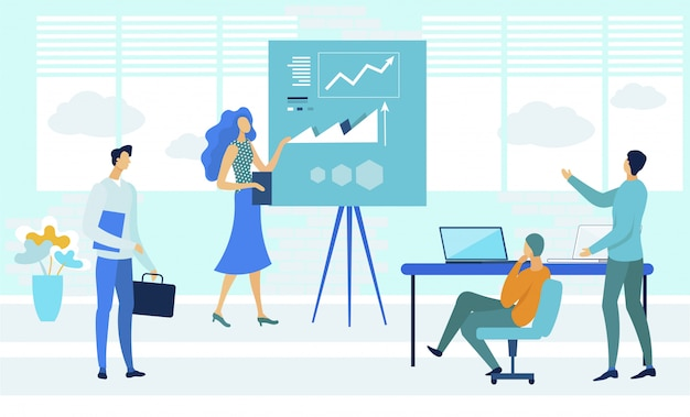 Business coaching courses flat vector illustration