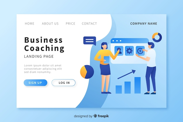 Business coaching landing page template