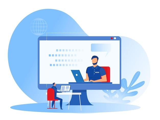 ビジネスコーチング、従業員チームのトレーニング、大きなコンピューター画面でのビデオの学習オンラインウェビナーコーチングの概念