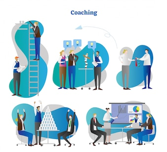 Business coaching vector illustration scenes collection