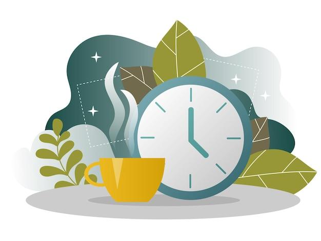 Целевая страница бизнес-кофе-брейка. баннер времени обеда с плоским шаблоном веб-сайта. легко редактировать и настраивать. векторная иллюстрация. концепция управления временем.