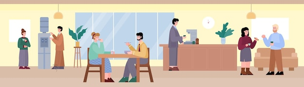 Business coffee break for people in working office a vector cartoon illustration