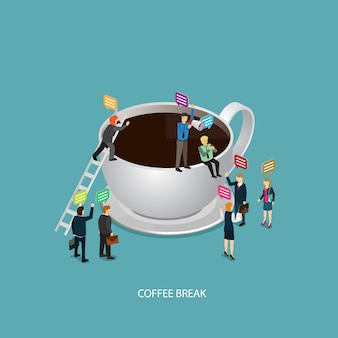 Business coffee break time with coffee icon and isometric