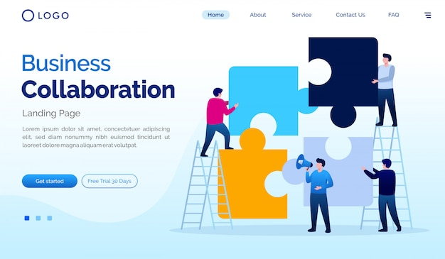 Business collaboration landing page flat vector template