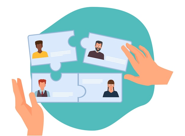 Business collaboration. new team forming, hr hires employees. recruitment agency vector illustration. business team collaboration, recruitment and partnership