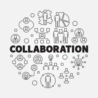 Business collaboration round thin line illustration