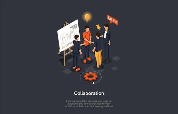 비즈니스 협업 파트너십 개념. 비즈니스 사람들이 새로운 아이디어에 대해 토론하고 사무실 회의실에서 공동 작업에 참여하는 작업을 배포합니다.