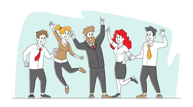 비즈니스 동료들이 사무실에서의 성공을 축하합니다.