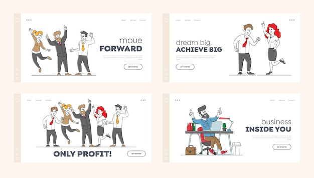 Business colleagues celebrate success landing page template set.