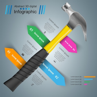 Business color paper infographics