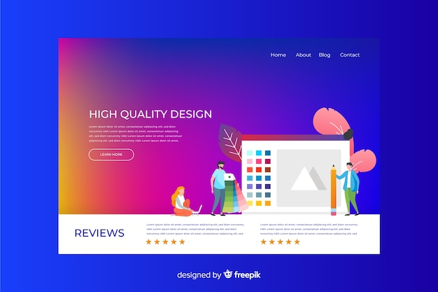 Business colorful gradient landing page