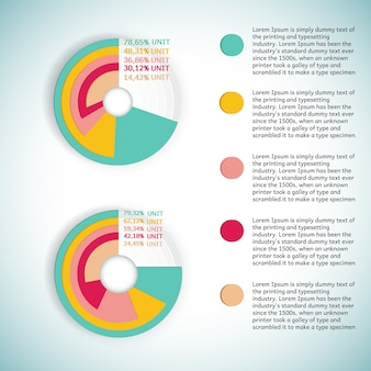 Business colorful round diagram or infographic presenting percentage statistics with text fields flat